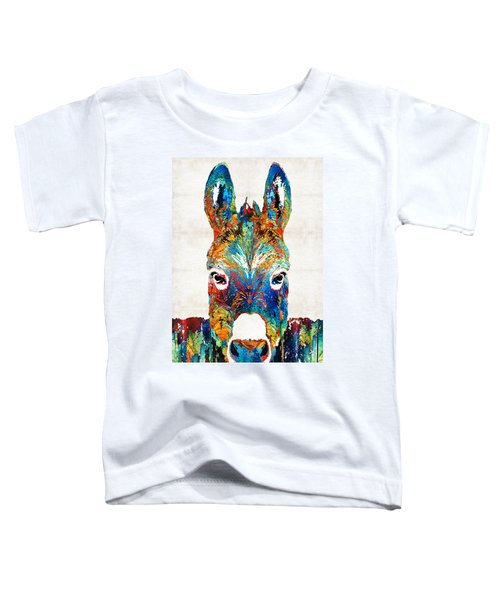 Colorful Donkey Art - Mr. Personality - By Sharon Cummings Toddler T-Shirt by Sharon Cummings