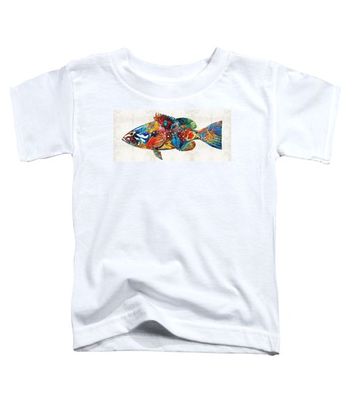 Colorful Grouper Art Fish By Sharon Cummings Toddler T-Shirt