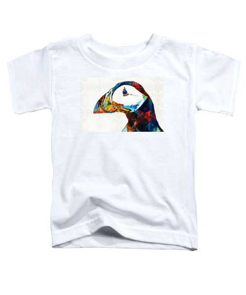 Colorful Puffin Art By Sharon Cummings Toddler T-Shirt