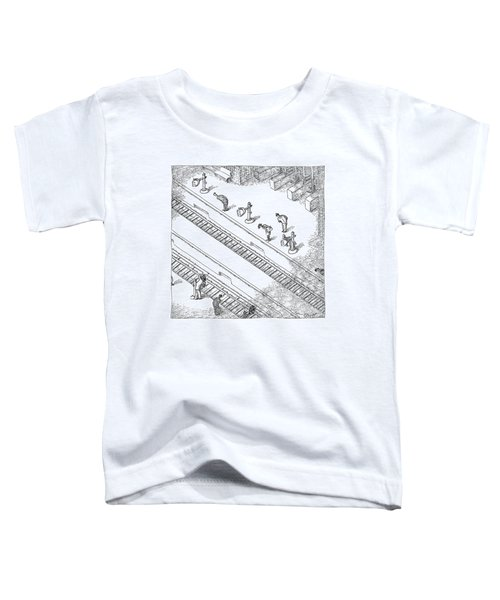 Commuters Are Seen Standing On A Train Station Toddler T-Shirt