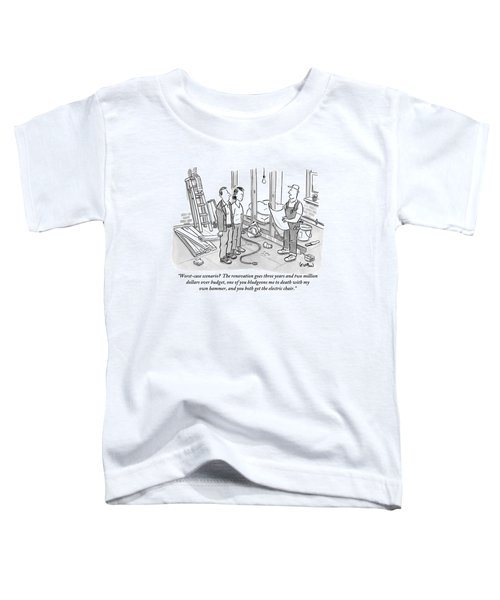 Contractor Examining A Blueprint And Speaking Toddler T-Shirt by Robert Leighton