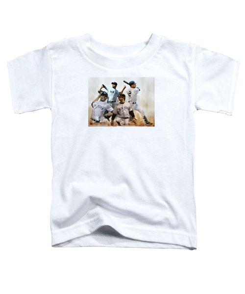 Core  Derek Jeter Mariano Rivera  Andy Pettitte Jorge Posada Toddler T-Shirt by Iconic Images Art Gallery David Pucciarelli