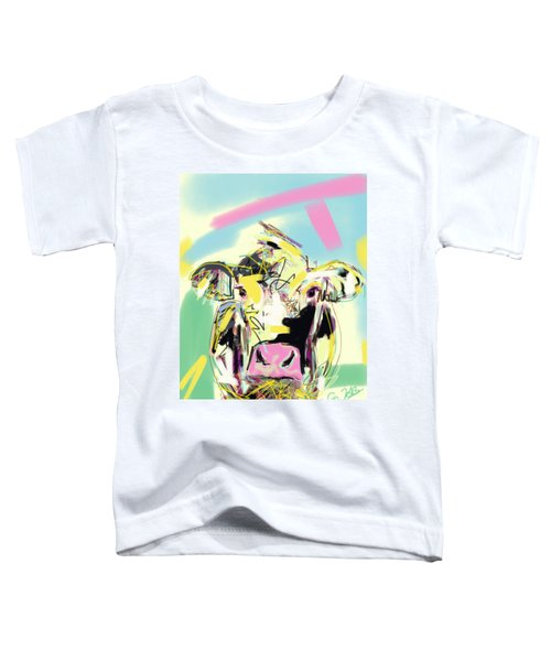 Toddler T-Shirt featuring the painting Cow- Happy Cow by Go Van Kampen