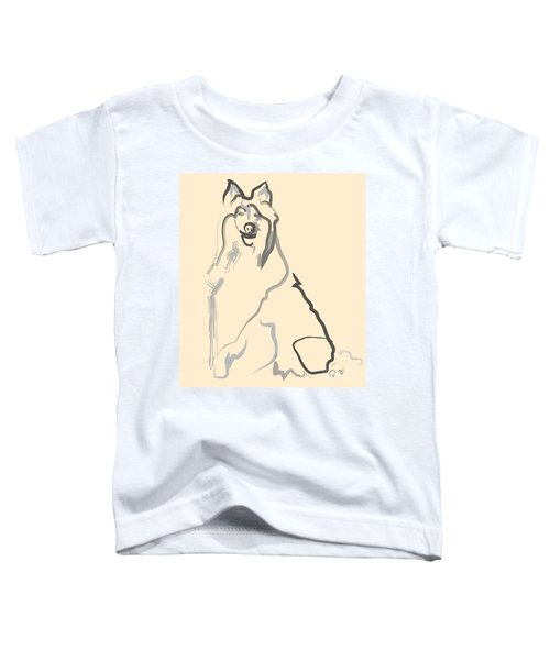 Toddler T-Shirt featuring the painting Dog - Lassie by Go Van Kampen
