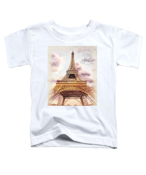 Toddler T-Shirt featuring the painting Eiffel Tower Vintage Art by Irina Sztukowski