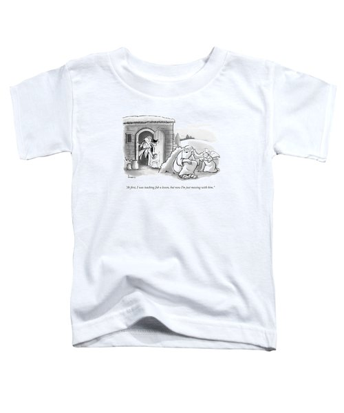 G-d And An Angel Watch As Job Stamps Out A Paper Toddler T-Shirt
