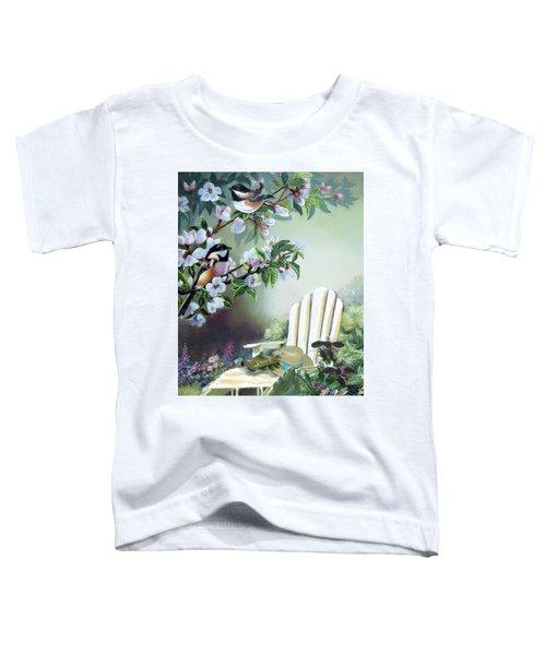 Chickadees In Blossom Tree Toddler T-Shirt by Regina Femrite