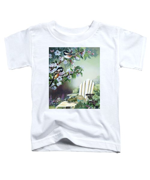 Chickadees In Blossom Tree Toddler T-Shirt