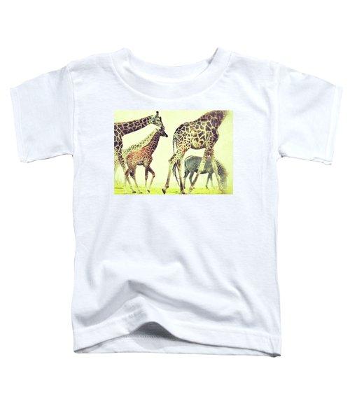 Giraffes And A Zebra In The Mist Toddler T-Shirt