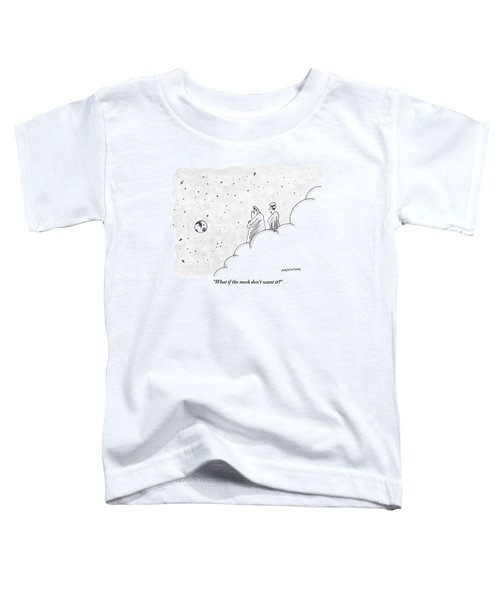 God And An Angel Stand On A Cloud Floating Toddler T-Shirt