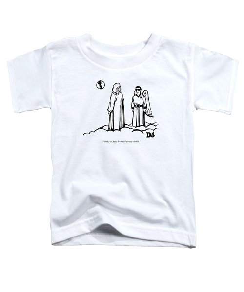 God Overlooks Earth Next To A Robin-like Angel Toddler T-Shirt