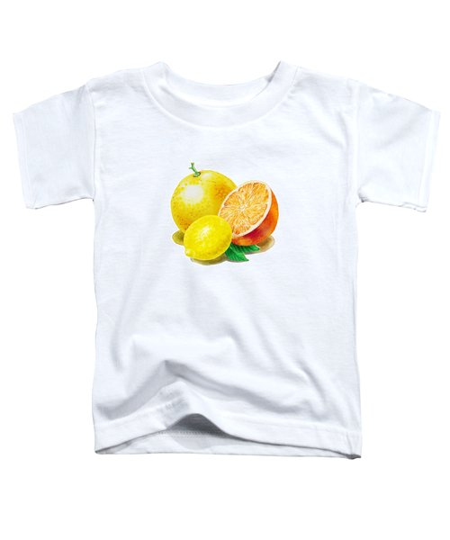 Toddler T-Shirt featuring the painting Grapefruit Lemon Orange by Irina Sztukowski