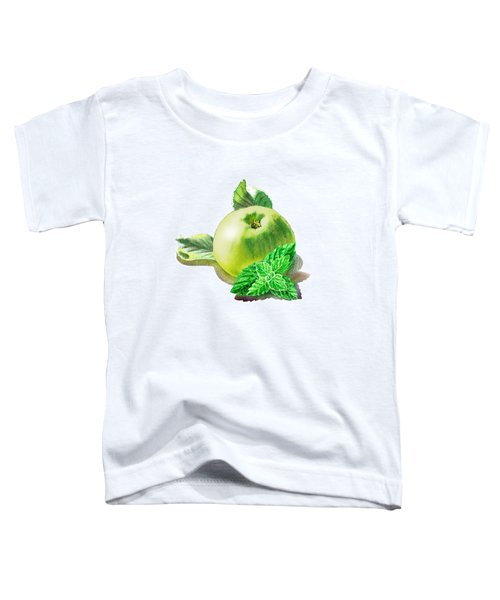 Toddler T-Shirt featuring the painting Green Apple And Mint Happy Union by Irina Sztukowski