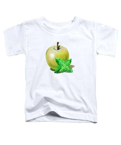 Toddler T-Shirt featuring the painting Green Apple And Mint by Irina Sztukowski