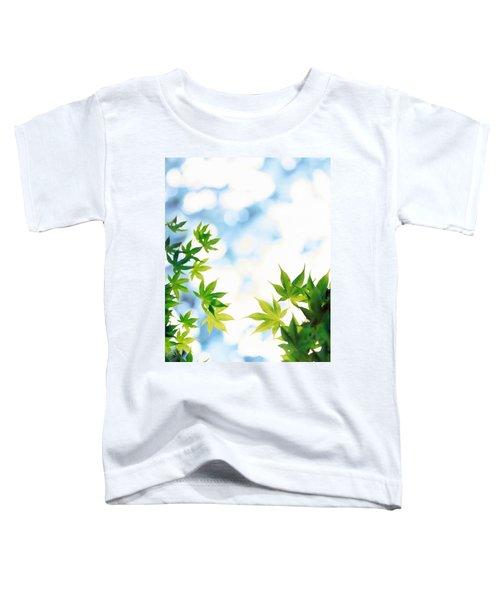 Green Leaves On Mottled Cloudy Sky Toddler T-Shirt