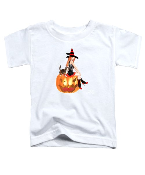 Halloween Witch Nicki With Kitten Toddler T-Shirt