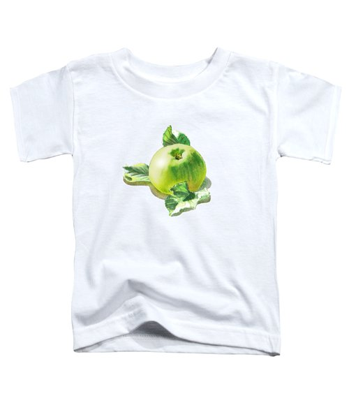 Toddler T-Shirt featuring the painting Happy Green Apple by Irina Sztukowski