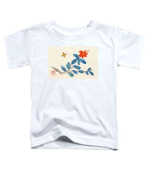 Hibiscus With Butterfly Toddler T-Shirt