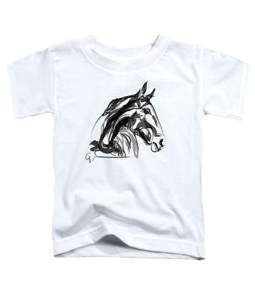 Toddler T-Shirt featuring the painting Horse- Apple -digi - Black And White by Go Van Kampen