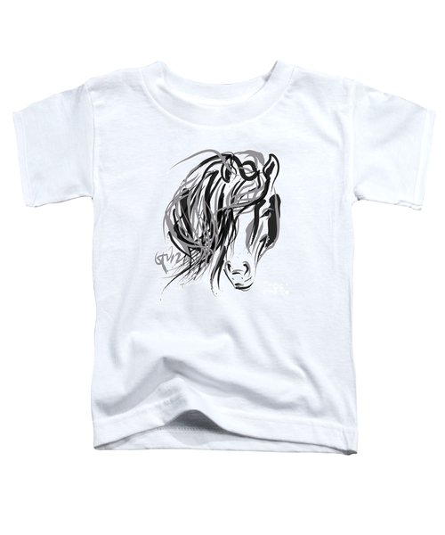 Toddler T-Shirt featuring the painting Horse- Hair And Horse by Go Van Kampen