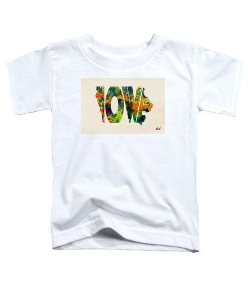 Iowa Typographic Watercolor Map Toddler T-Shirt