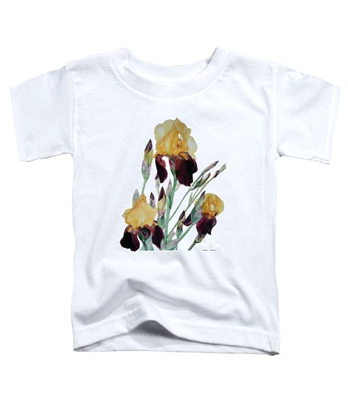 Watercolor Of Tall Bearded Iris In Yellow And Maroon I Call Iris Beethoven Toddler T-Shirt