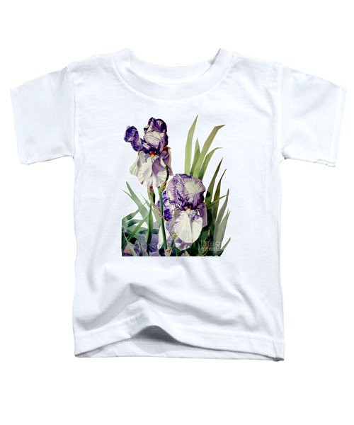 Watercolor Of A Tall Bearded Iris In Violet And White I Call Iris Selena Marie Toddler T-Shirt