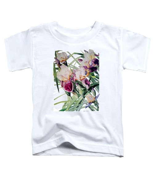 Watercolor Of Tall Bearded Irises I Call Iris Vivaldi Spring Toddler T-Shirt