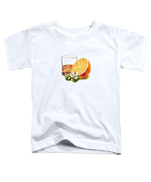 Toddler T-Shirt featuring the painting Irish Whiskey And Orange by Irina Sztukowski