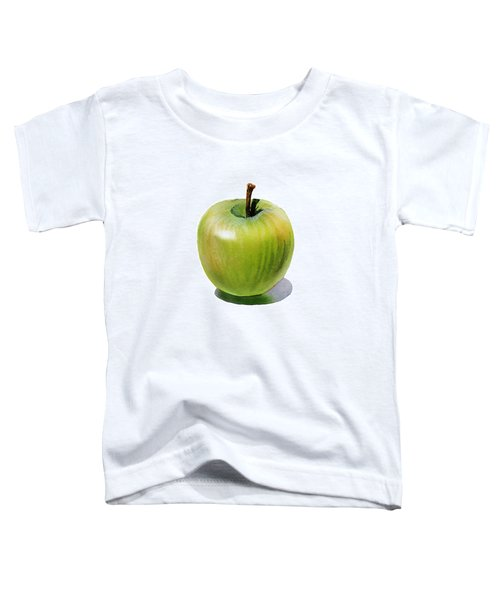 Toddler T-Shirt featuring the painting Juicy Green Apple by Irina Sztukowski