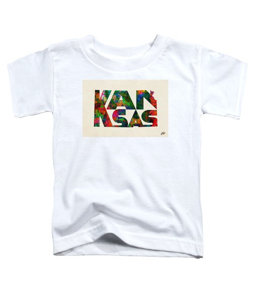 Kansas Typographic Watercolor Map Toddler T-Shirt