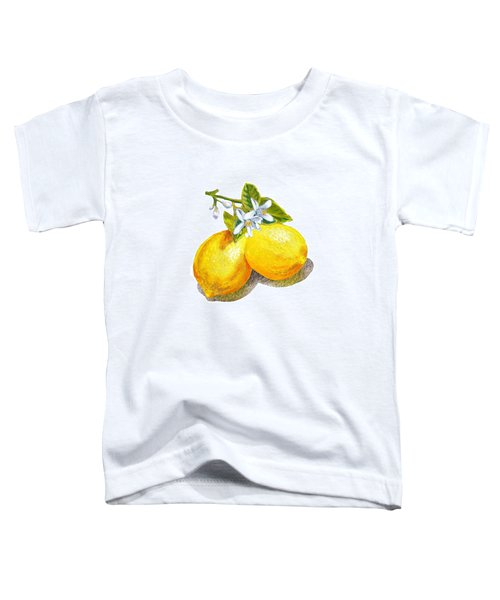 Toddler T-Shirt featuring the painting Lemons And Blossoms by Irina Sztukowski