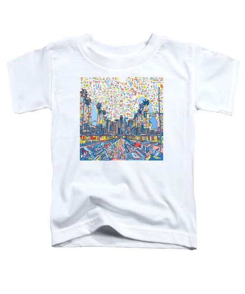 Los Angeles Skyline Abstract 3 Toddler T-Shirt by Bekim Art