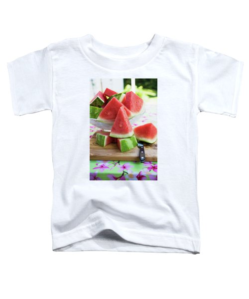 Many Pieces Of Watermelon In A Glass Bowl Toddler T-Shirt
