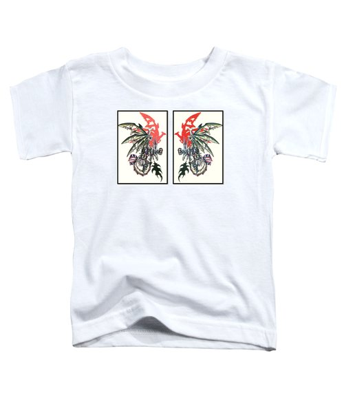 Toddler T-Shirt featuring the painting Mech Dragons Collide by Shawn Dall