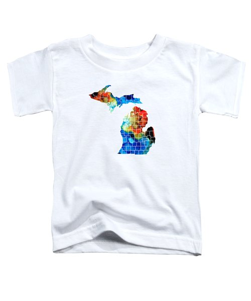 Michigan State Map - Counties By Sharon Cummings Toddler T-Shirt by Sharon Cummings