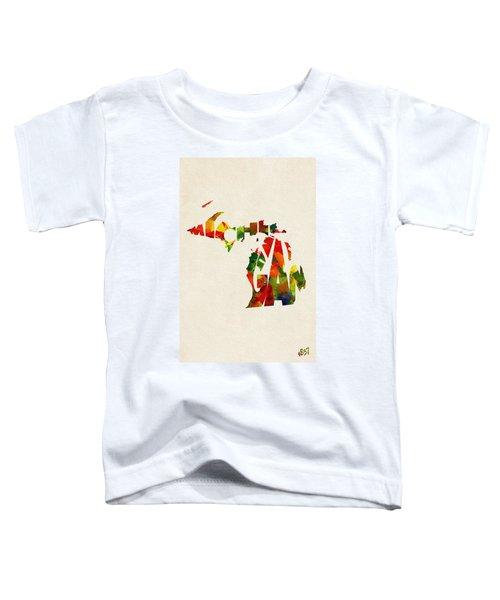 Michigan Typographic Watercolor Map Toddler T-Shirt