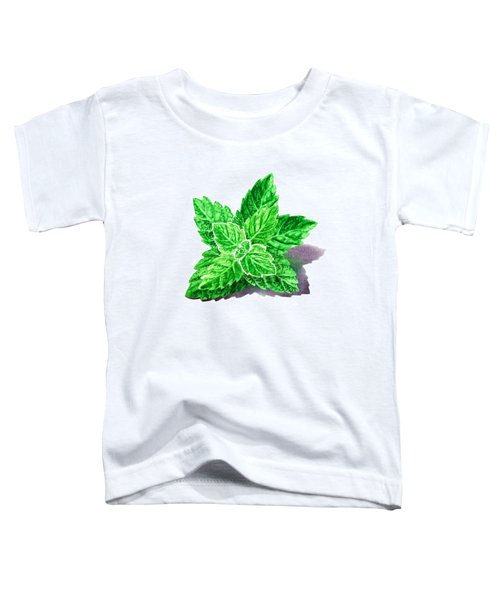 Toddler T-Shirt featuring the painting Mint Leaves by Irina Sztukowski