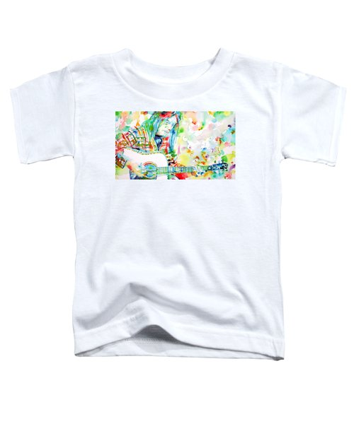 Neil Young Playing The Guitar - Watercolor Portrait.1 Toddler T-Shirt by Fabrizio Cassetta