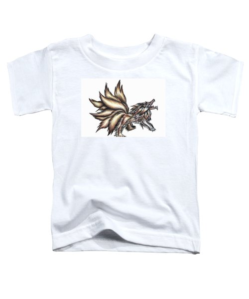 Toddler T-Shirt featuring the painting Nine Tails Wolf Demon by Shawn Dall