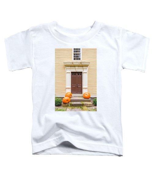 Old Colonial Era Front Door With Pumpkins Toddler T-Shirt