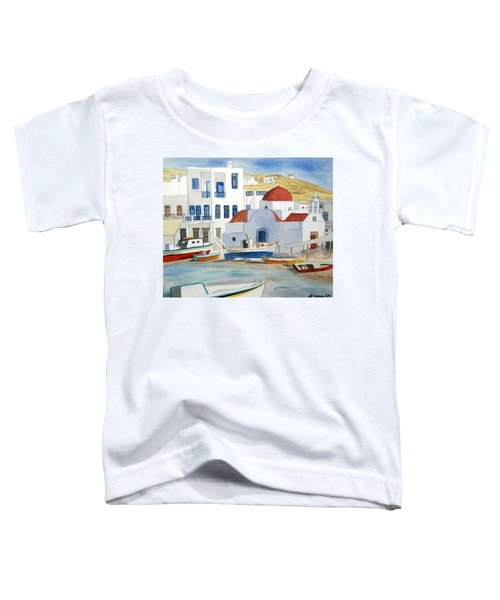 Watercolor - Mykonos Greece Detail Toddler T-Shirt