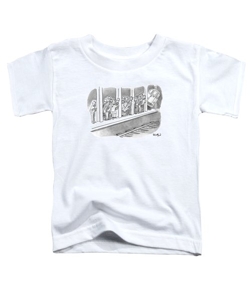 People Waiting For A Subway Peek Onto The Tracks Toddler T-Shirt