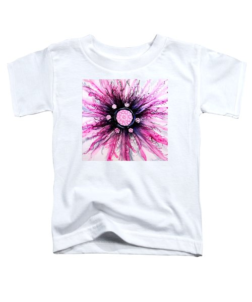 Pink Black Elegance Alcohol Inks Abstract Toddler T-Shirt