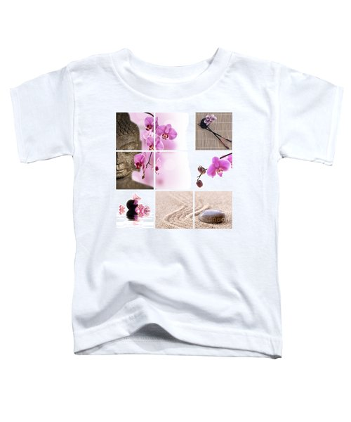 Pink Orchid And Buddha Collage Toddler T-Shirt