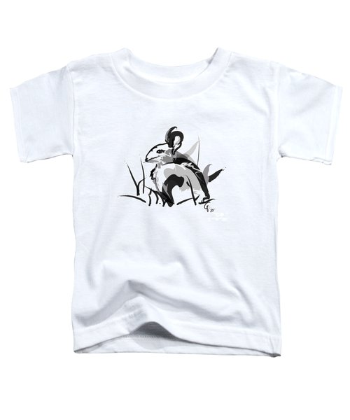 Toddler T-Shirt featuring the painting Rabbit Bunny Black White Grey by Go Van Kampen