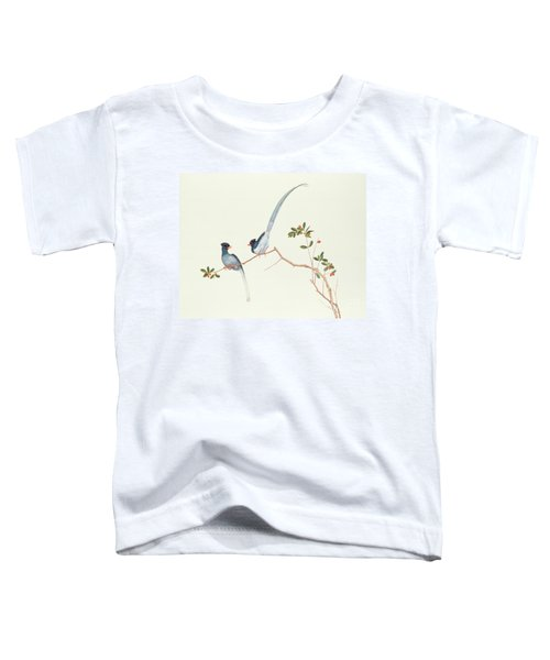 Red Billed Blue Magpies On A Branch With Red Berries Toddler T-Shirt by Chinese School