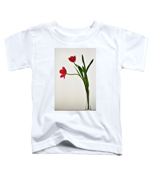 Red Flowers In Glass Vase Toddler T-Shirt