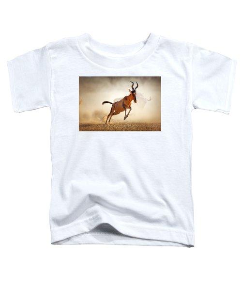 Red Hartebeest Running In Dust Toddler T-Shirt