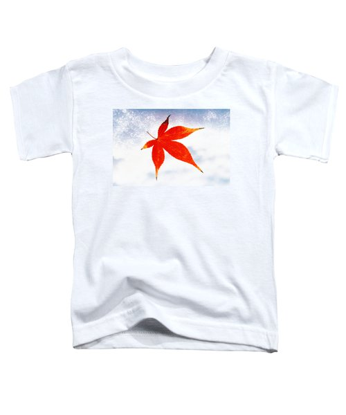 Red Maple Leaf Against White Background Toddler T-Shirt